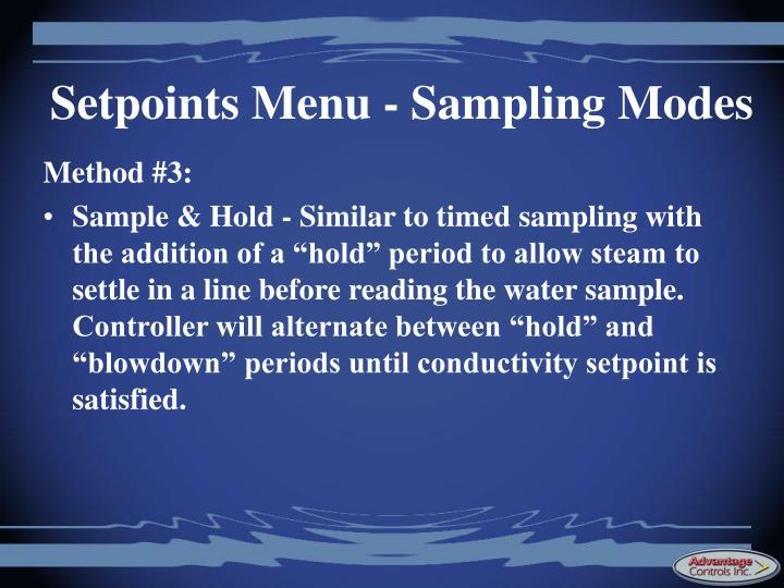 Setpoints Menu - Sampling Modes