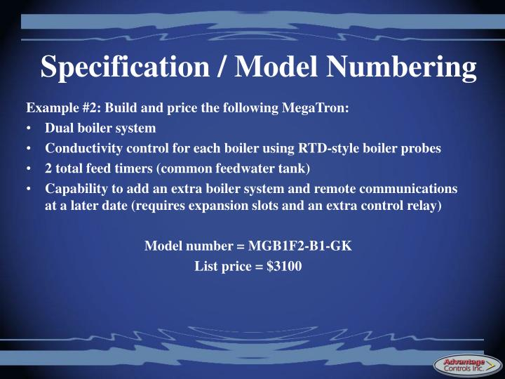 Specification / Model Numbering