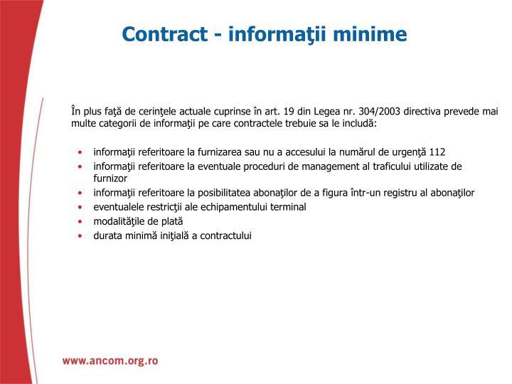 Contract - informaţii minime