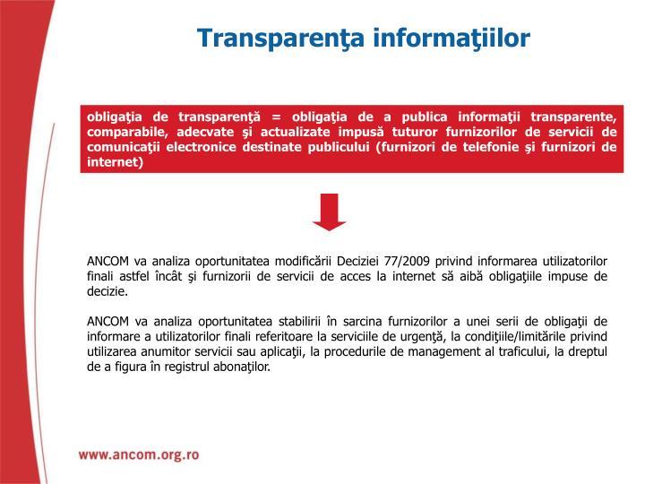 Transparenţa informaţiilor