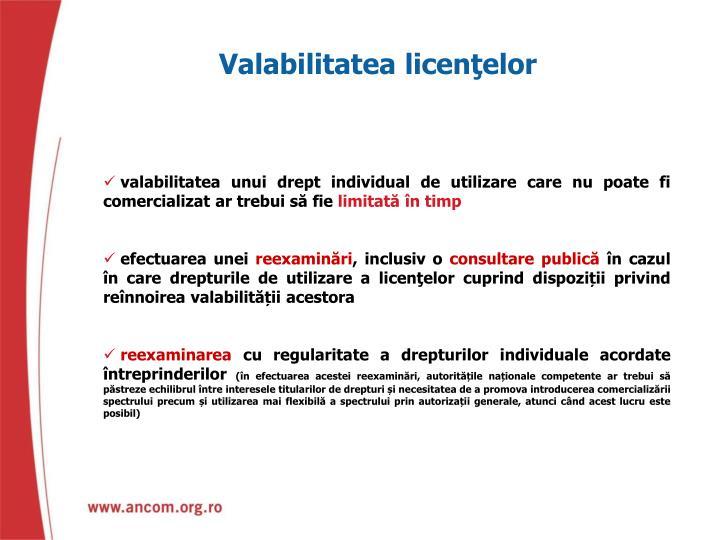 Valabilitatea licenţelor