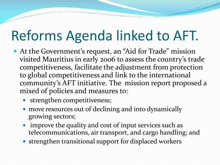 Reforms Agenda linked to AFT.