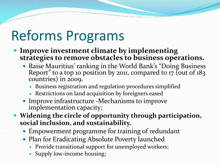 Reforms Programs