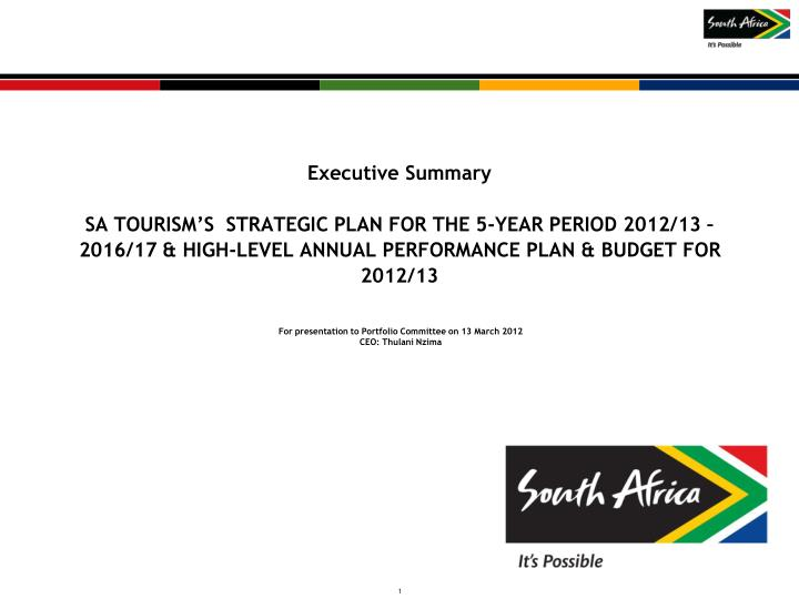 for presentation to portfolio committee on 13 march 2012 ceo thulani nzima