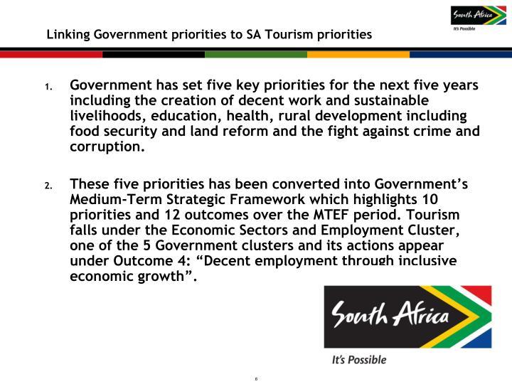 Linking Government priorities to SA Tourism priorities