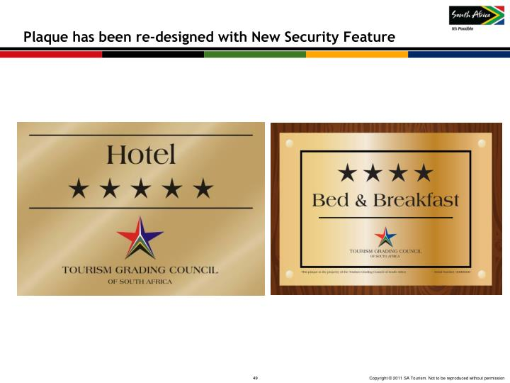 Plaque has been re-designed with New Security Feature