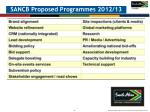 sancb proposed programmes 2012 13