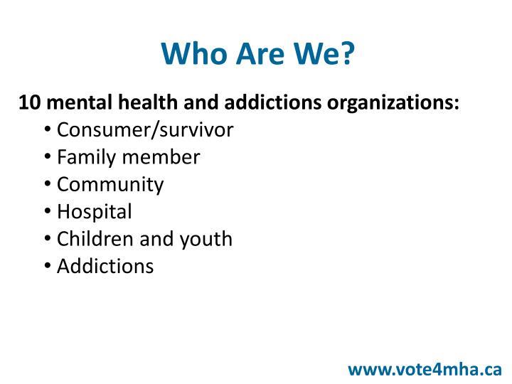 10 mental health and addictions organizations:
