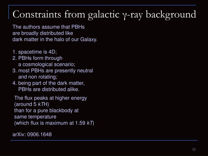 Constraints from galactic