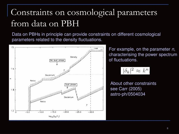 Constraints on cosmological parameters from data on PBH