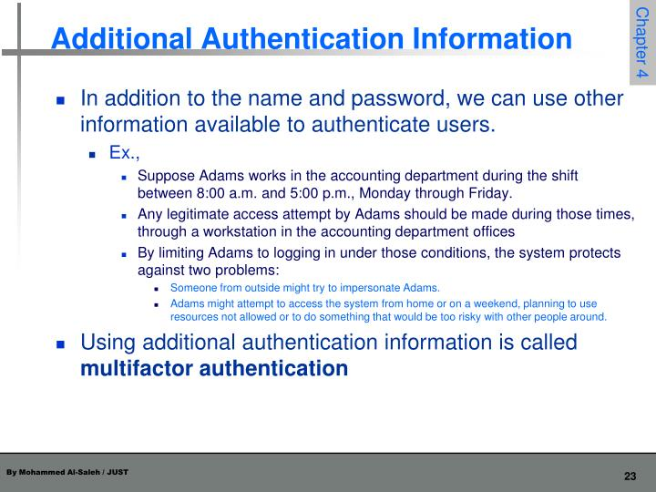 Additional Authentication Information