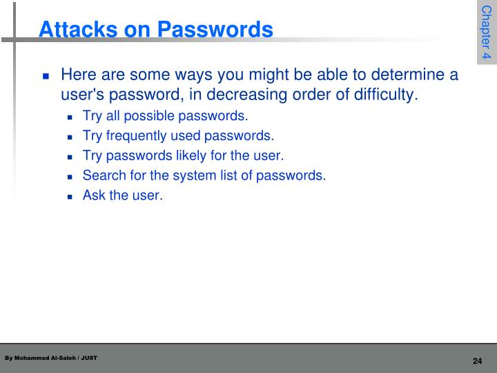 Attacks on Passwords