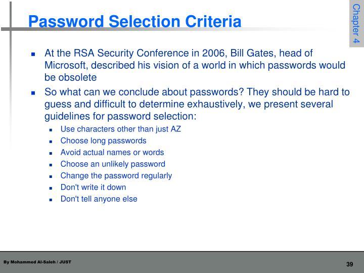 Password Selection Criteria