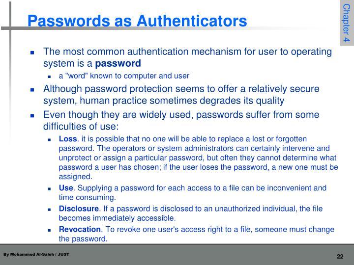 Passwords as Authenticators