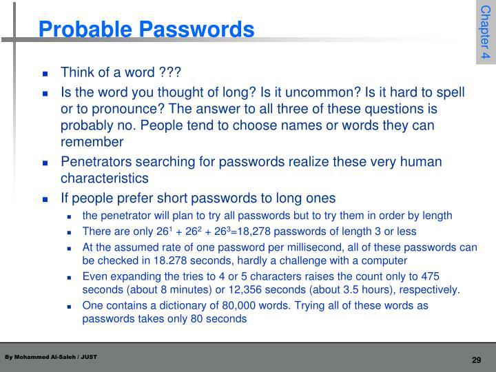 Probable Passwords