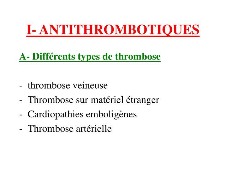 I- ANTITHROMBOTIQUES
