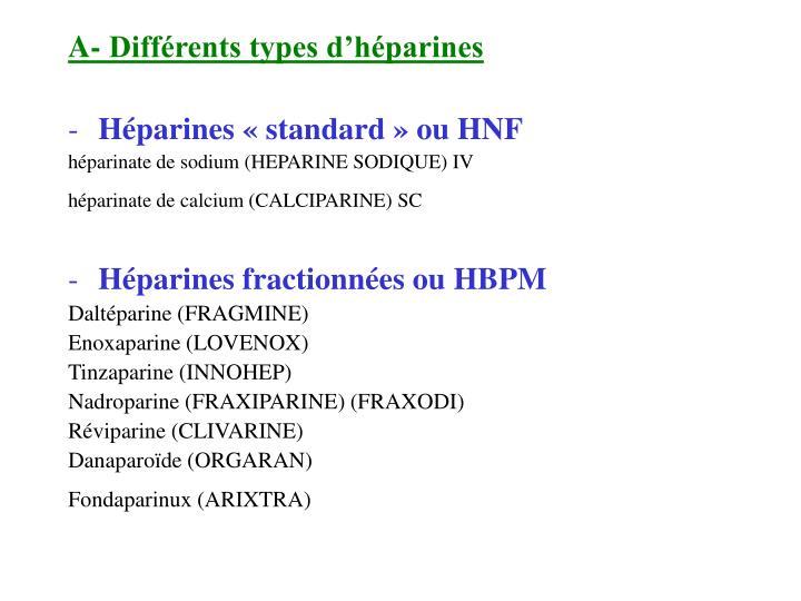 A- Différents types d'héparines
