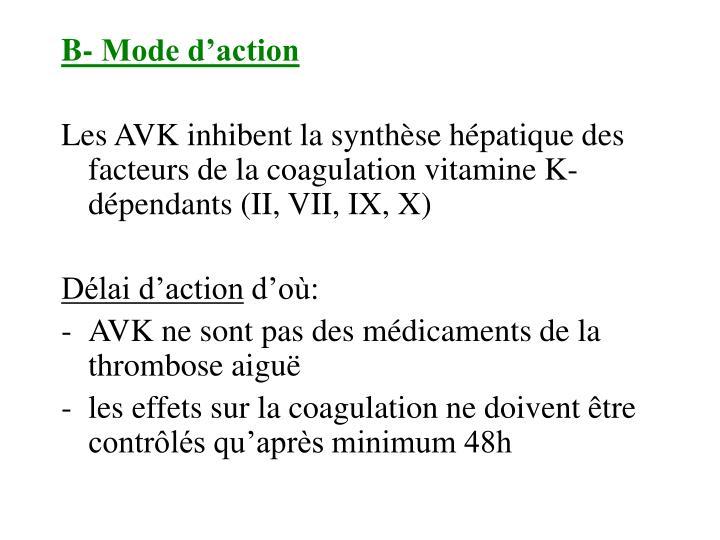 B- Mode d'action