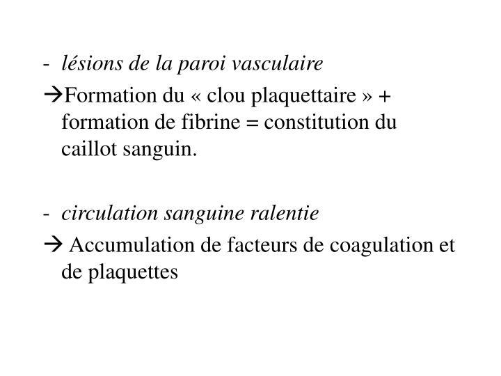 lésions de la paroi vasculaire