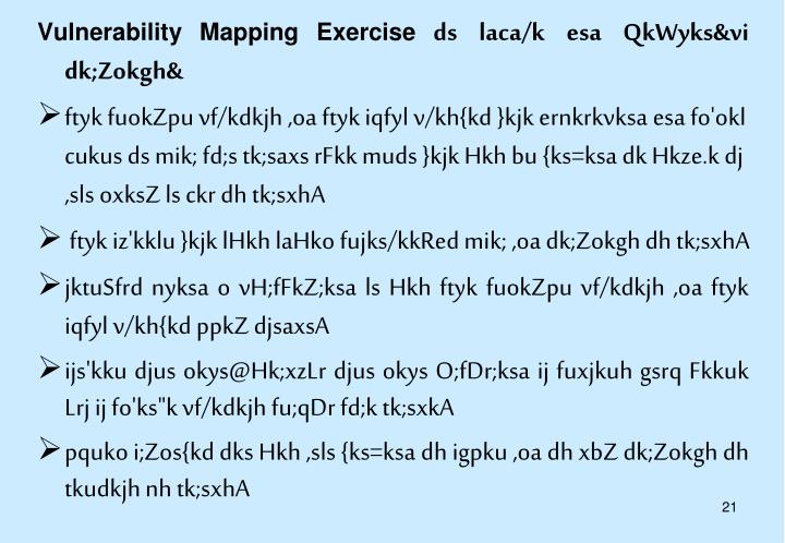 Vulnerability Mapping Exercise