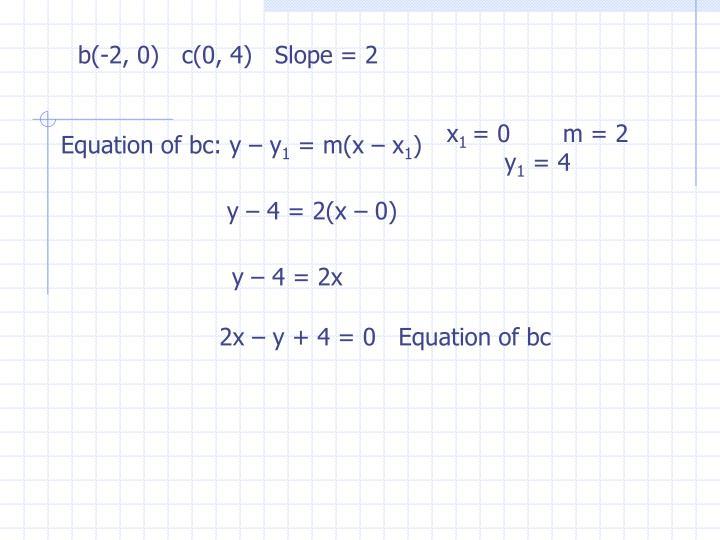 b(-2, 0)   c(0, 4)   Slope = 2