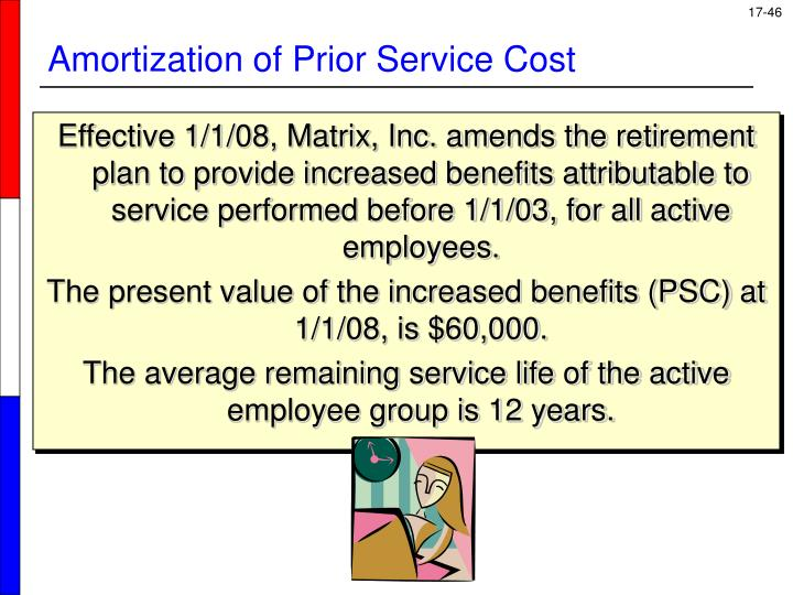 Effective 1/1/08, Matrix, Inc. amends the retirement plan to provide increased benefits attributable to service performed before 1/1/03, for all active employees.