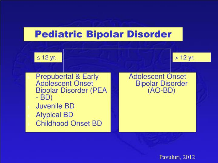 Prepubertal & Early Adolescent Onset Bipolar Disorder (PEA - BD)