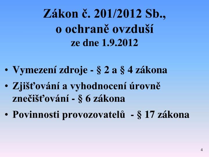 Zákon č. 201/2012 Sb.,