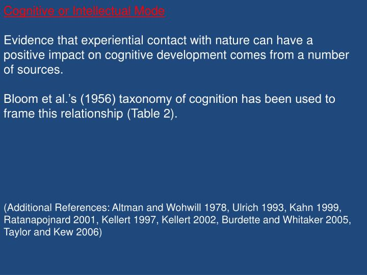 Cognitive or Intellectual Mode