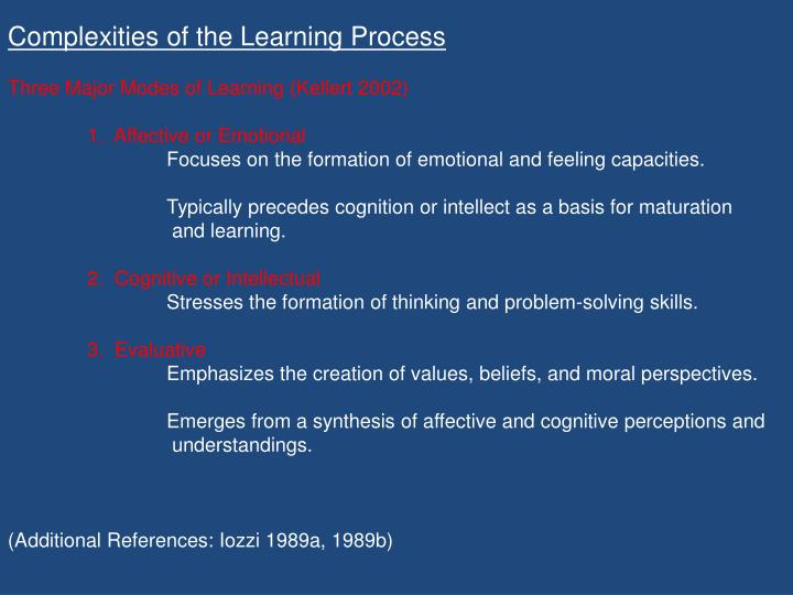 Complexities of the Learning Process