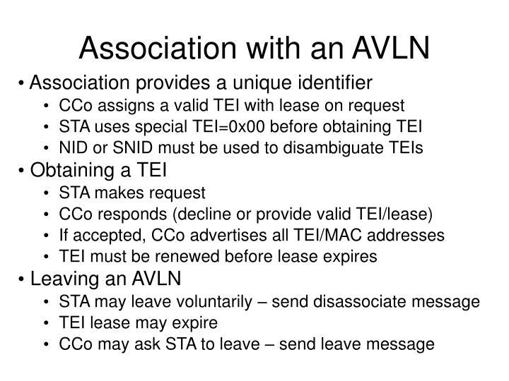 Association with an AVLN