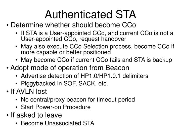 Authenticated STA