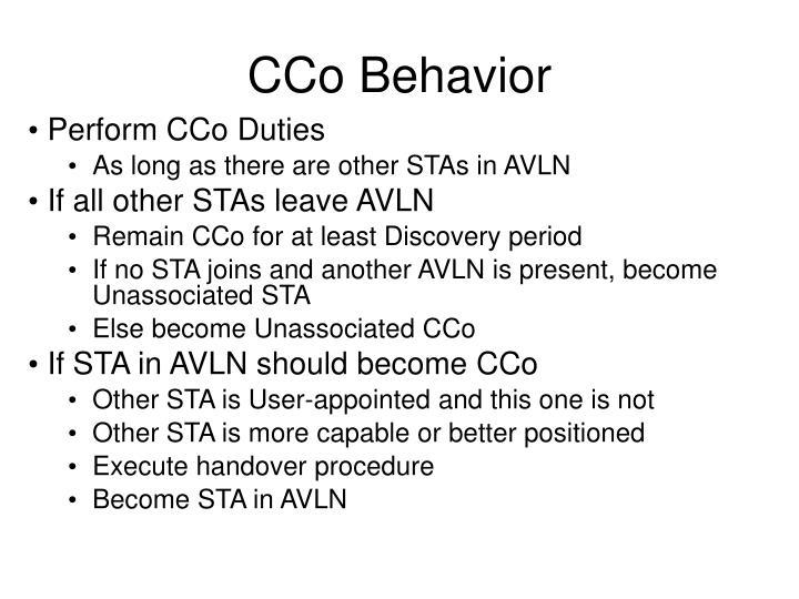 CCo Behavior