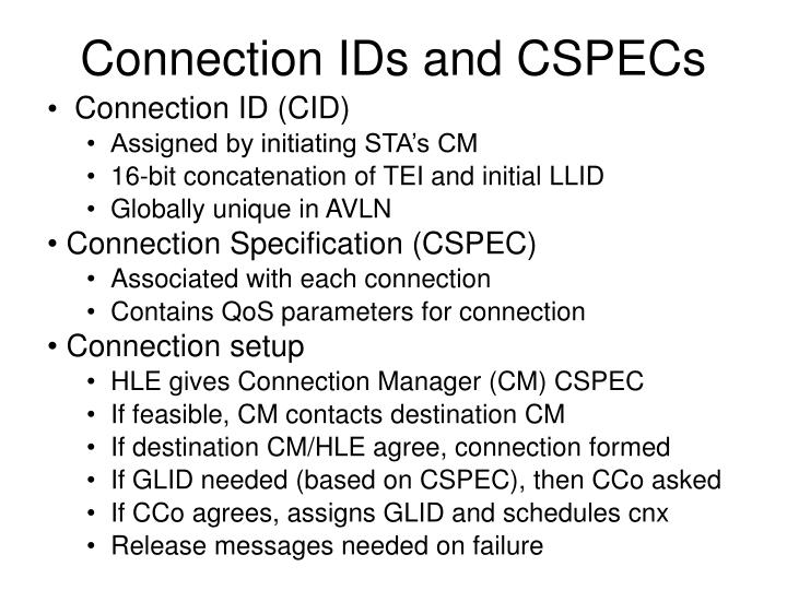 Connection IDs and CSPECs