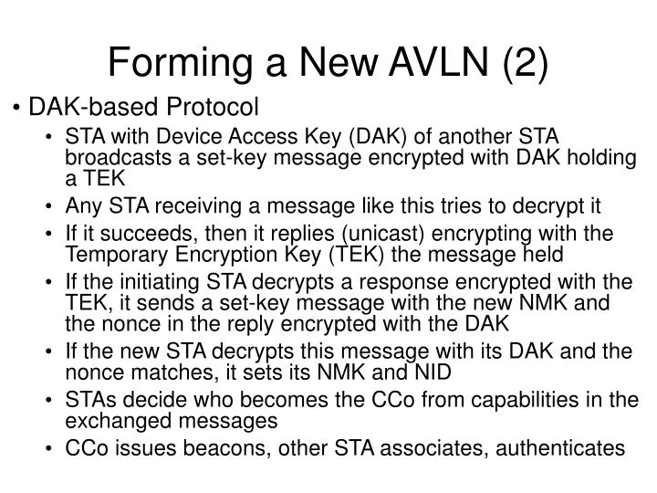 Forming a New AVLN (2)