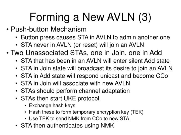 Forming a New AVLN (3)