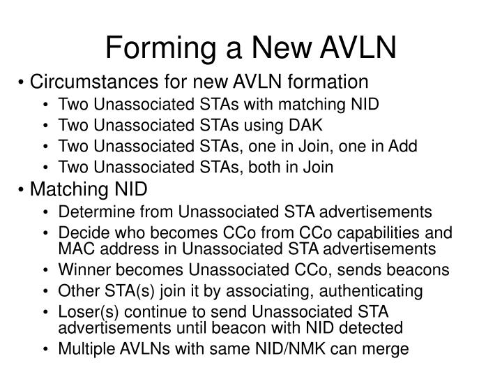 Forming a New AVLN