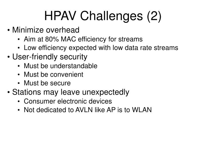 HPAV Challenges (2)