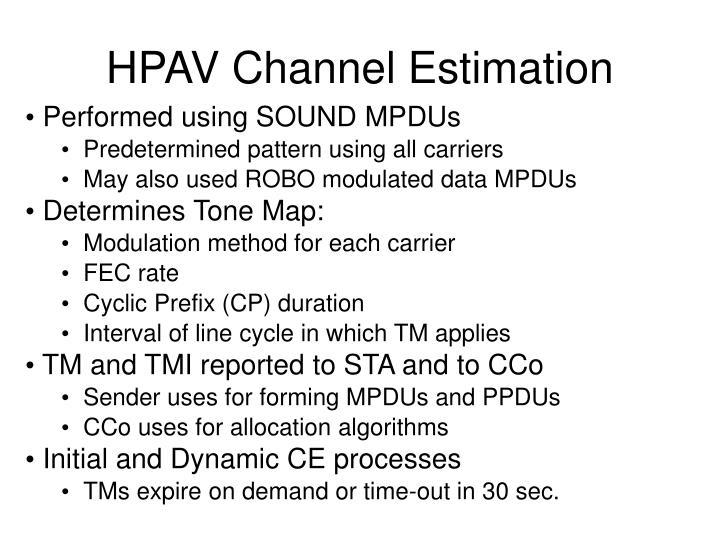 HPAV Channel Estimation