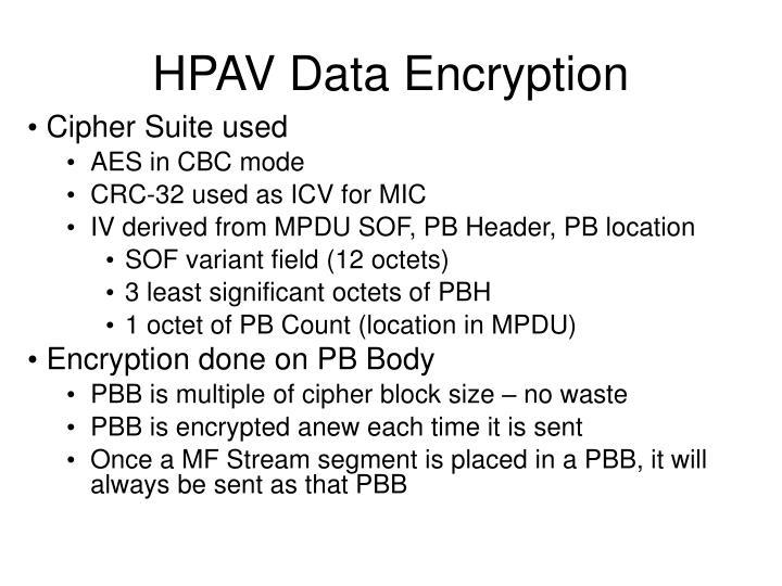 HPAV Data Encryption