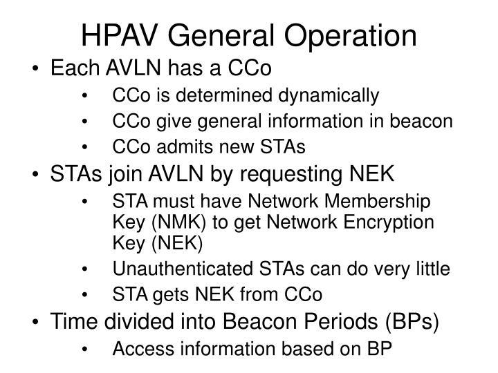 HPAV General Operation