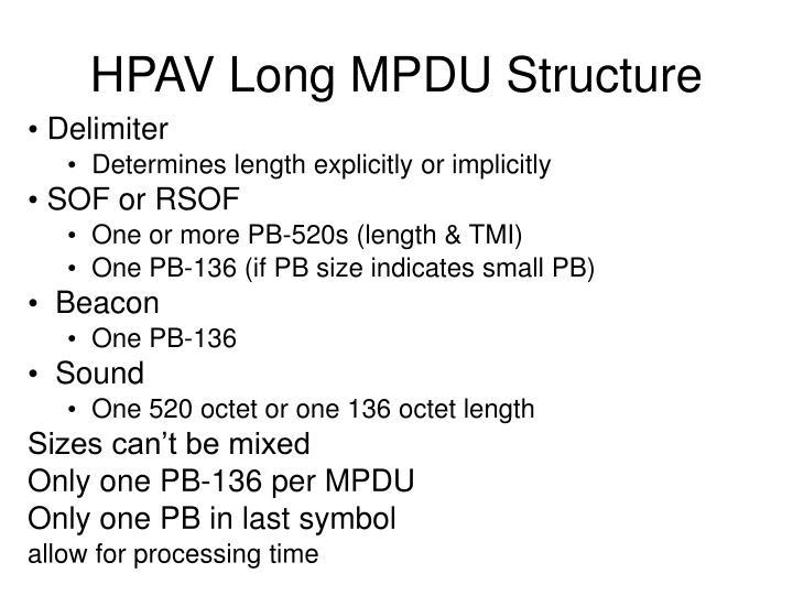HPAV Long MPDU Structure