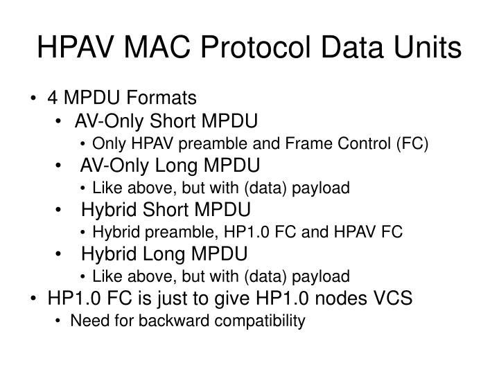 HPAV MAC Protocol Data Units
