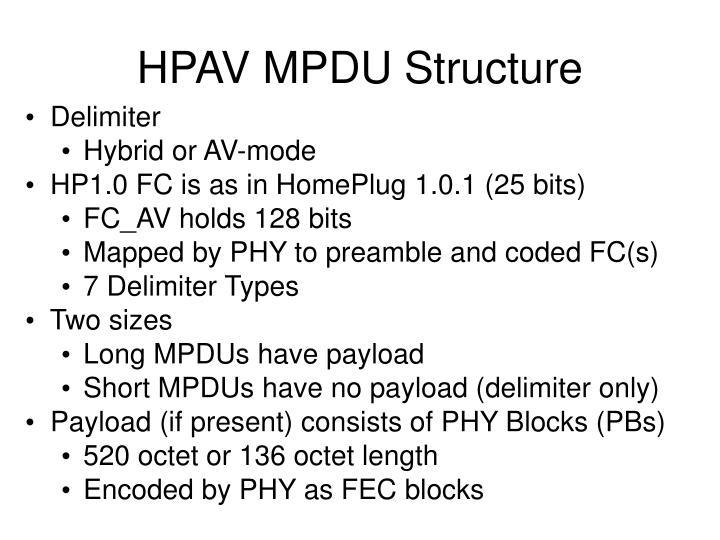 HPAV MPDU Structure