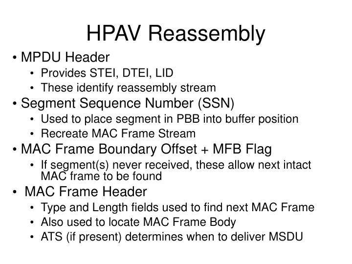 HPAV Reassembly