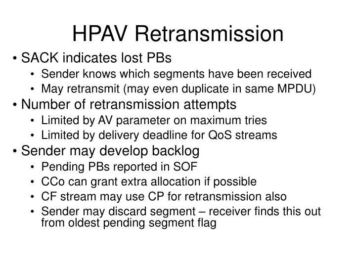 HPAV Retransmission