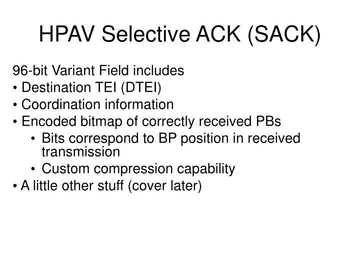 HPAV Selective ACK (SACK)