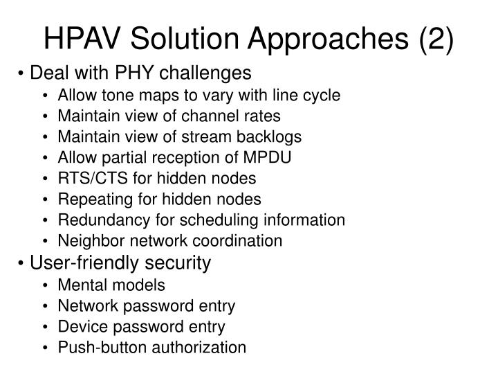 HPAV Solution Approaches (2)