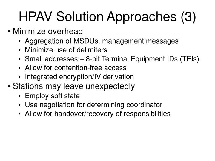 HPAV Solution Approaches (3)