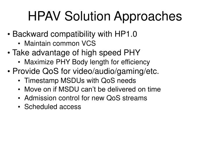 HPAV Solution Approaches